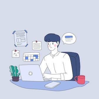 Homme d'affaires travaillant à la conception de personnage à la maison