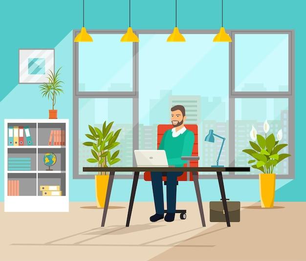 Homme d'affaires travaillant dans son bureau. illustration vectorielle style plat