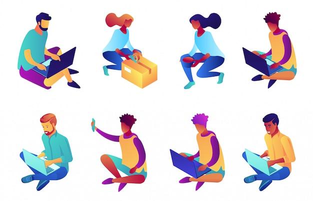 Homme d'affaires travaillant avec ordinateur portable assis avec les jambes croisées jeu d'illustration 3d isométrique.