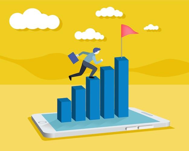 Homme d'affaires travaillant avec tablette numérique ou téléphone intelligent et courir vers le haut du graphique de l'entreprise bleue, peut être utilisé pour la mise en page de flux de travail, bannière, diagramme, options d'intensification, conception web, calendrier, modèle infographique