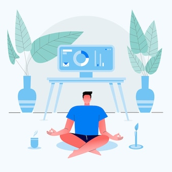 Homme d'affaires travaille à domicile et s'assoit avec les jambes croisées et médite dans la maison. vêtu de vêtements pour la maison. illustration plate.