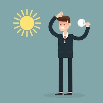 Homme d'affaires très chaud avec un coup de ventilateur pliant et le soleil