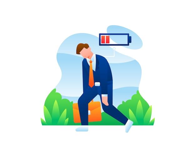Homme d'affaires très fatigué avec indicateur de batterie faible rouge