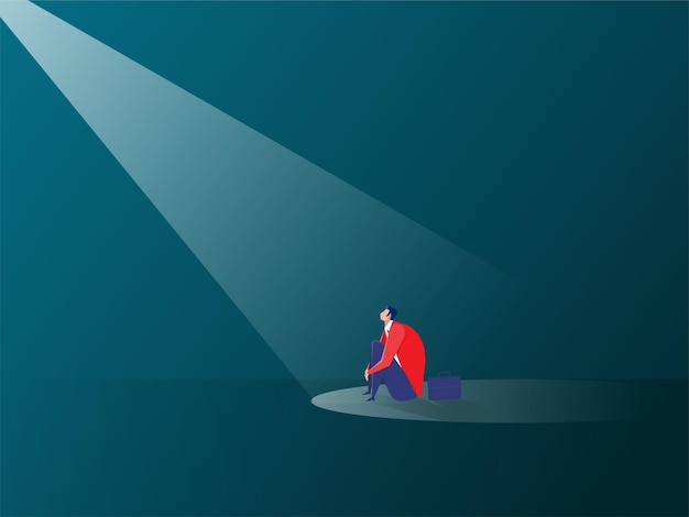 Homme d'affaires triste dans l'illustration du concept d'effet de projecteur