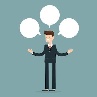 Homme d'affaires avec trois bulles de conversation