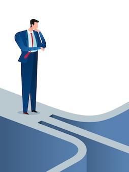 Homme d'affaires a trouvé un chemin et une option déroutants