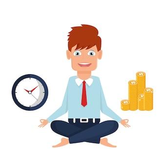 Homme d'affaires a trouvé son équilibre avec du temps et de l'argent