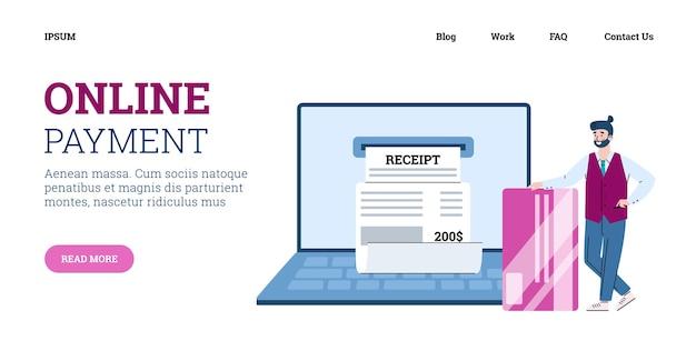 Homme d'affaires utilisant une application web pour les paiements en ligne à partir d'une facture numérique électronique
