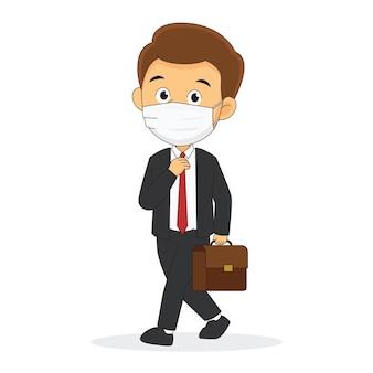 Homme affaires, utilisation, masque facial, à, porte-documents