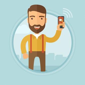 Homme affaires, utilisation, smartphone