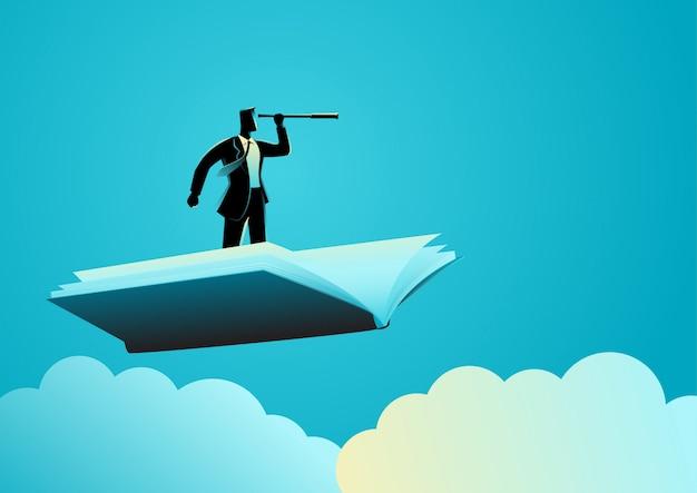 Homme affaires, utilisation, télescope, voler, livre