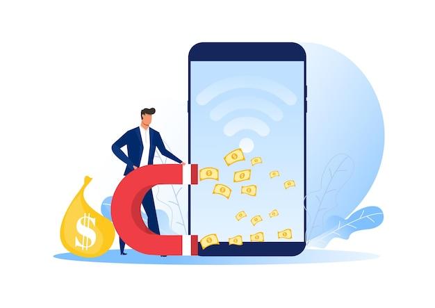 Homme d'affaires utilise l'aimant attirer gagnez de l'argent en ligne plat.