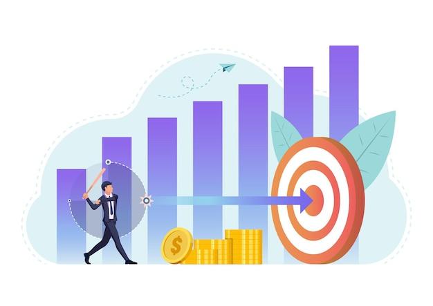 Un homme d'affaires utilise une batte de baseball pour frapper la flèche au centre de la cible. succès de la cible commerciale et objectif atteindre le concept.
