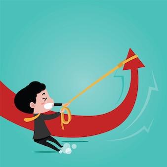 Un homme d'affaires utilise une corde pour tirer le graphique en flèche. caricature de vecteur de business concept