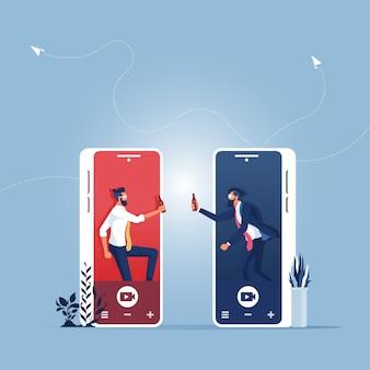 Homme d'affaires utilise une fête de réunion mobile avec des amis en ligne, concept technologique