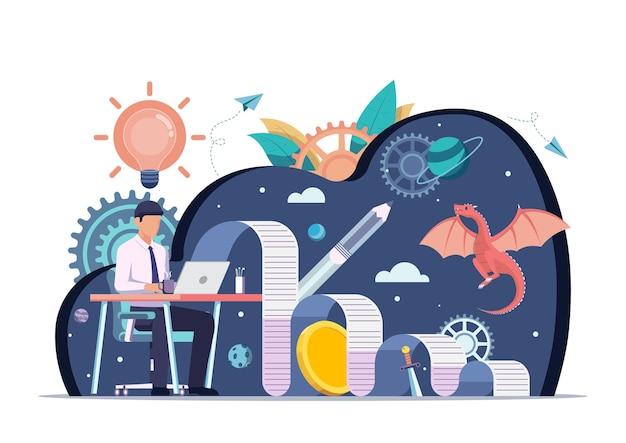 Un homme d'affaires utilise un ordinateur portable pour écrire du contenu créatif pour les entreprises. le contenu est roi et concept marketing.