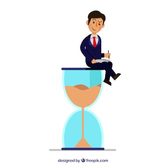 Homme d'affaires avec un verre d'heure