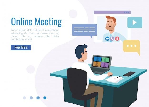 Homme affaires, vidéoconférence, affaires, réunion, technologie