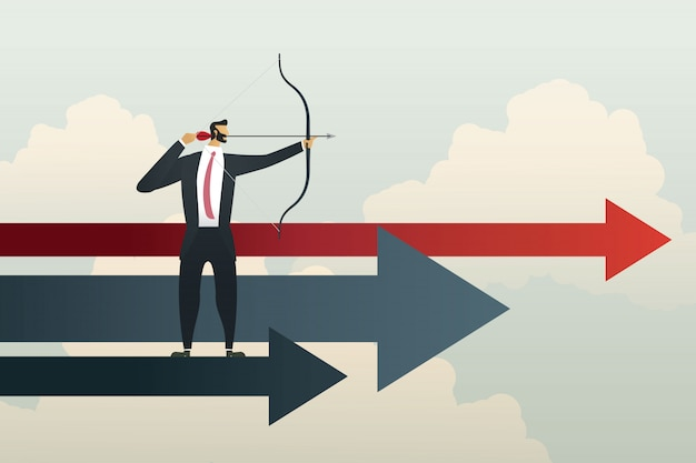 Homme affaires, viser, buts, réussi, objectif, stratégie, concept, affaires
