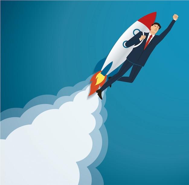 Homme d'affaires volant sur une fusée