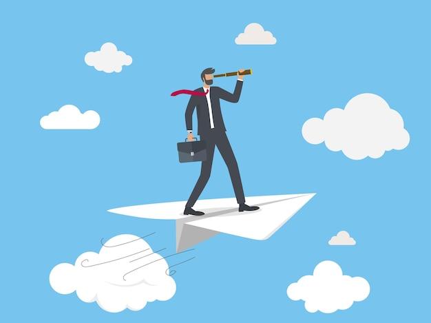 Homme affaires, voler, sur, avion papier, à, télescope