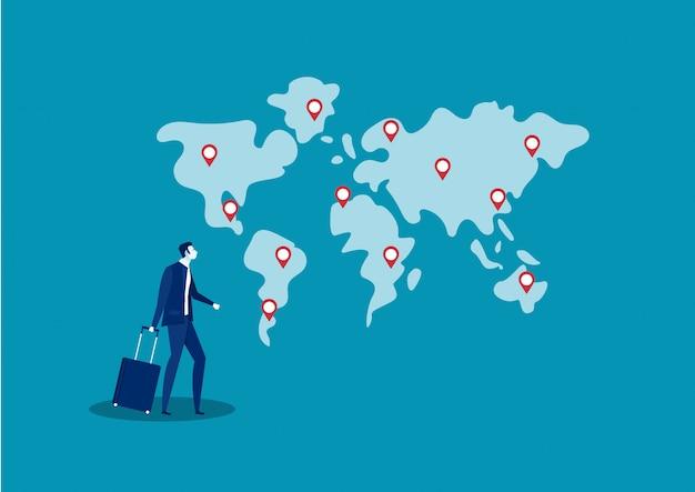 Homme d'affaires voyage et lieu de recherche pour investir illustration d'affaires à l'étranger