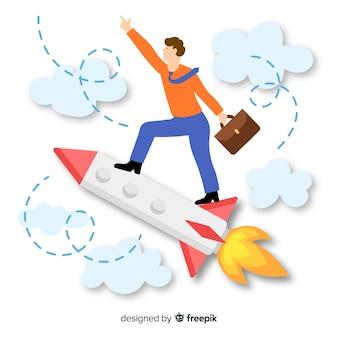 Homme d'affaires voyageant sur fond de fusée