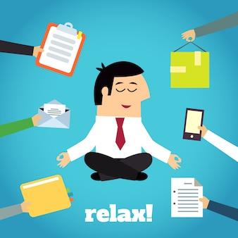 Homme d'affaires yoga relaxant