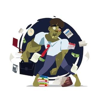 Homme d'affaires de zombie. concept de travail acharné