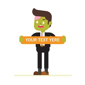 Homme d'affaires de zombie debout avec une pure affiches publicitaires