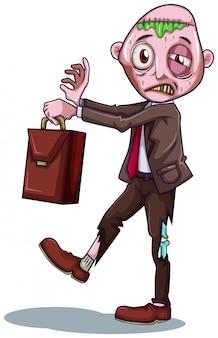 Un homme d'affaires de zombie sur fond blanc