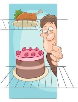 Homme affamé sur dessin animé de régime