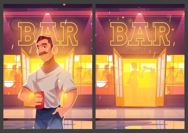 Homme d'affiche de dessin animé de loisirs de barre avec la tasse au pub