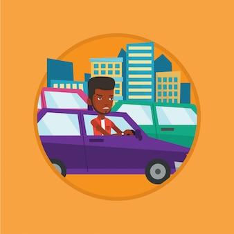 Homme africain en colère en voiture coincé dans les embouteillages.