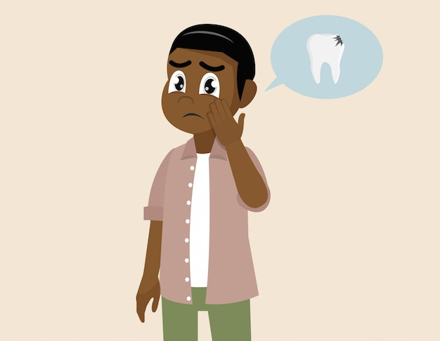 Homme africain avec un mal de dents.