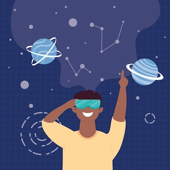 Homme afro à l'aide d'un masque de réalité virtuelle dans la conception d'illustration de scène de l'univers