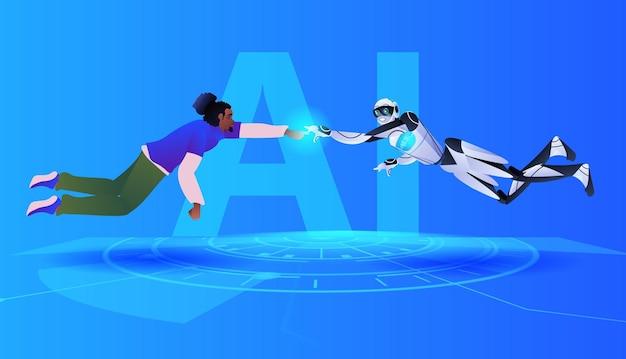 Homme afro-américain et robot touchant les doigts en contact avec le concept de technologie d'intelligence artificielle