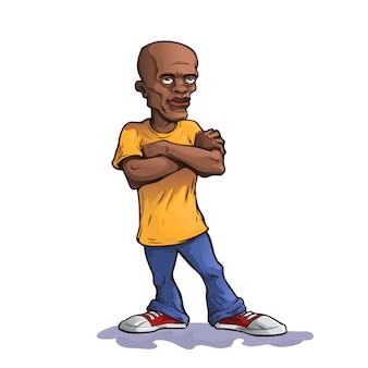 Homme afro avec les bras croisés