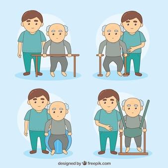 Un homme âgé dans les exercices de réadaptation