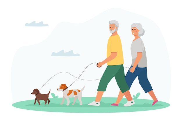 Un homme âgé et une femme marchant avec des chiens. mode de vie actif et activités de loisirs pour les seniors.