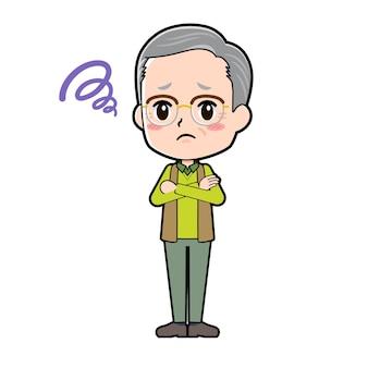 Un homme âgé avec un geste d'inquiétude. personnage de dessin animé.