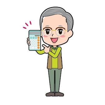 Un homme âgé avec un geste de point de calculatrice.