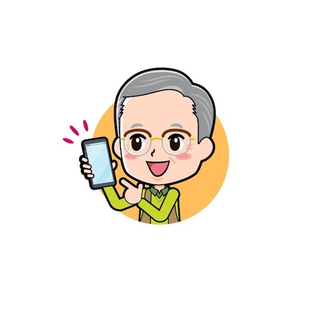Un homme âgé avec un geste de point de smartphone. personnage de dessin animé.
