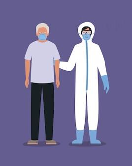 Homme âgé avec masque et médecin avec combinaison de protection contre la conception de covid 19