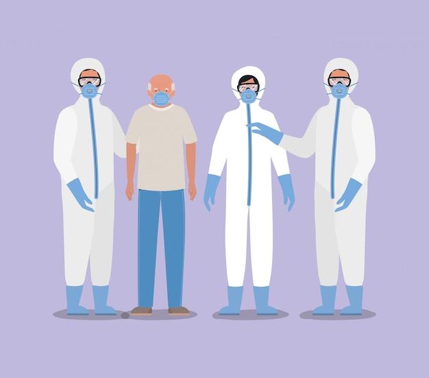 Homme âgé avec masque et médecins avec des combinaisons de protection contre la conception de covid 19
