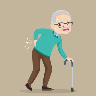 Un homme âgé souffrant de maux de dos