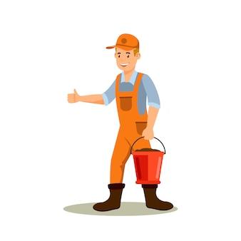 Homme agriculteur avec personnage de dessin animé couleur seau