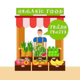 Homme agriculteur vendant sur le marché des aliments biologiques fruits frais concept de produits sains naturels