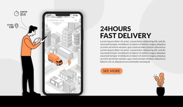 Homme à l'aide de l'application de commande en ligne, concept de service de livraison rapide