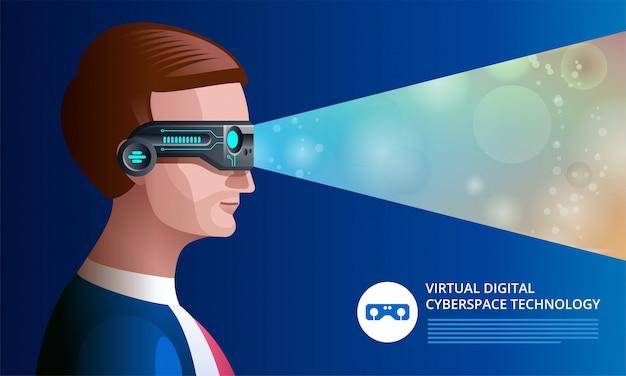 Homme à l'aide de lunettes de réalité virtuelle